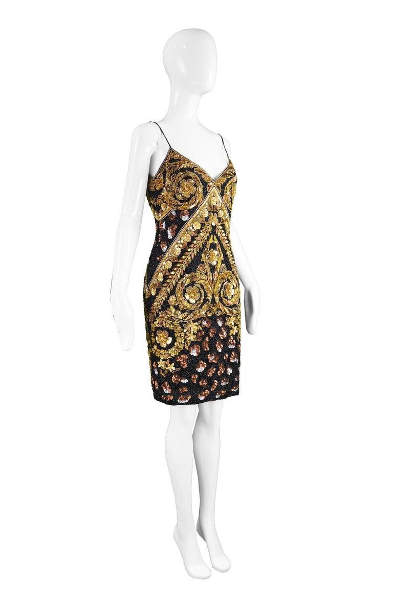 Naeem Khan Vintage Beaded, Sequinned Black & Gold Silk Party Dress, 1980s For Sale 1
