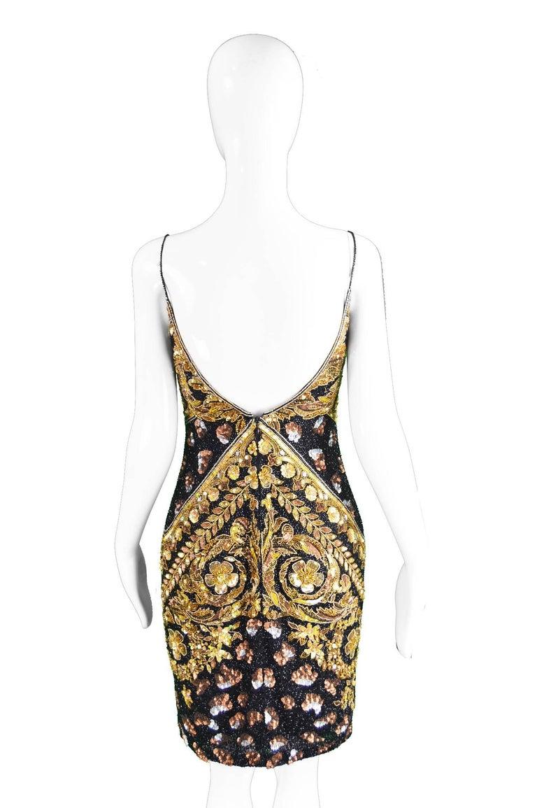 Naeem Khan Vintage Beaded, Sequinned Black & Gold Silk Party Dress, 1980s For Sale 3