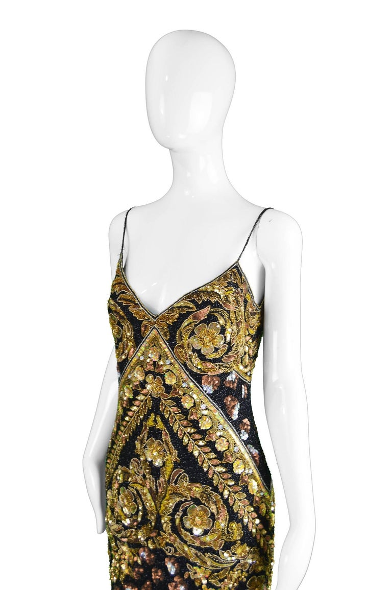 Naeem Khan Vintage Beaded, Sequinned Black & Gold Silk Party Dress, 1980s In Excellent Condition For Sale In Doncaster, South Yorkshire
