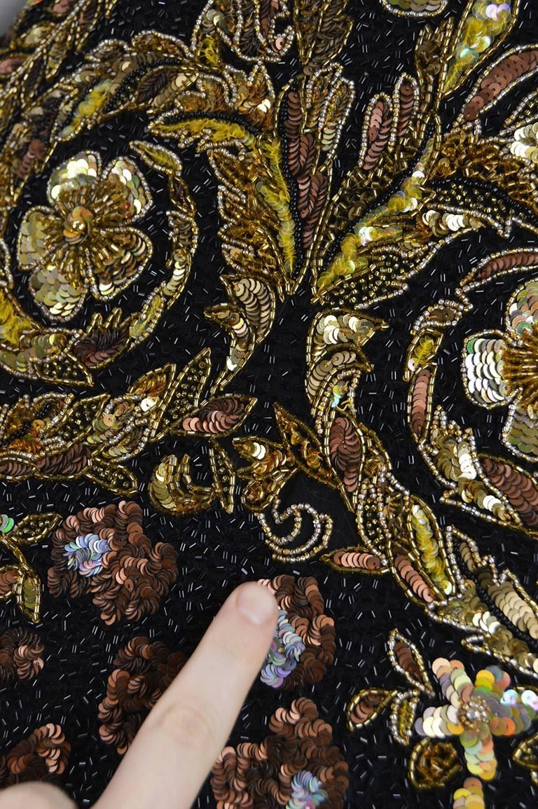 Naeem Khan Vintage Beaded, Sequinned Black & Gold Silk Party Dress, 1980s For Sale 5
