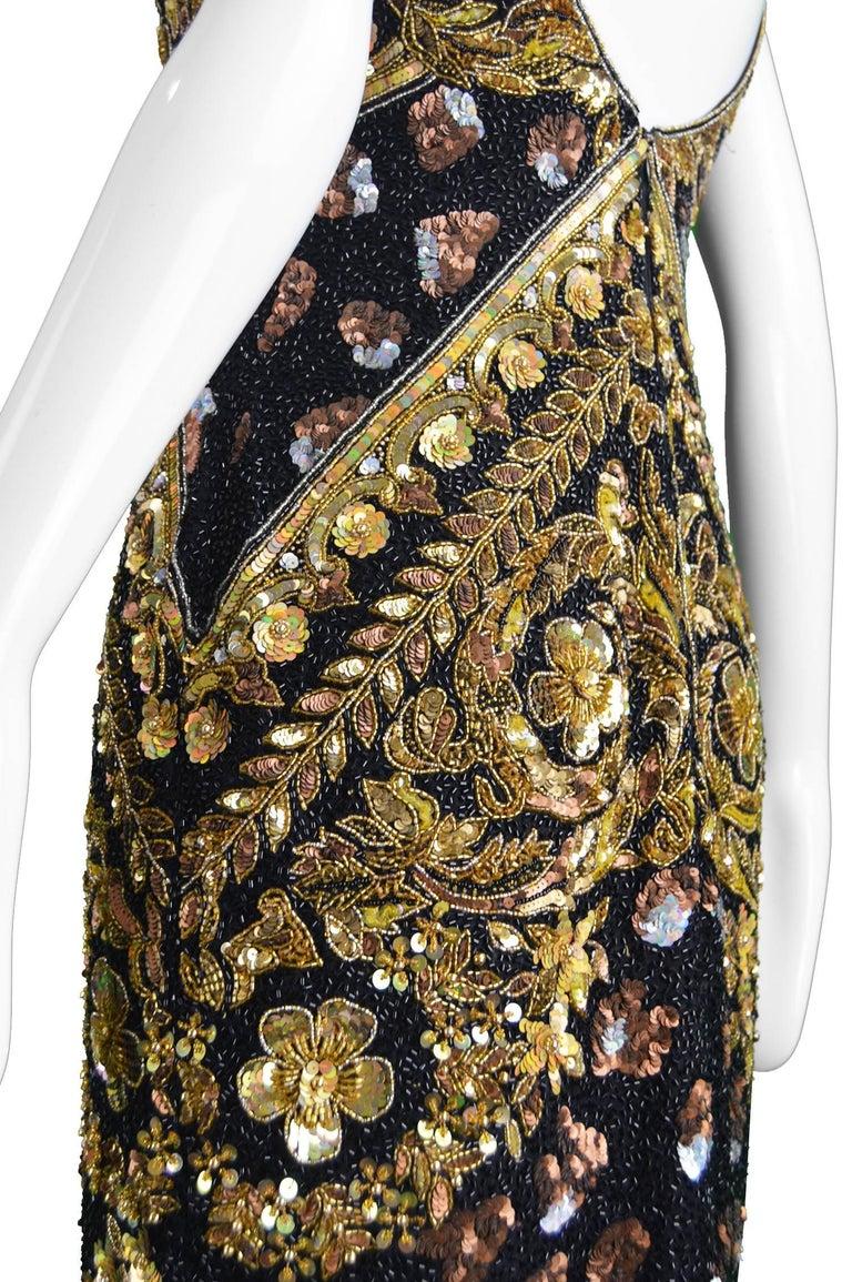 Naeem Khan Vintage Beaded, Sequinned Black & Gold Silk Party Dress, 1980s For Sale 2