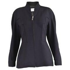Thierry Mugler Black Worsted Wool Futuristic Vintage Jacket, 1990s