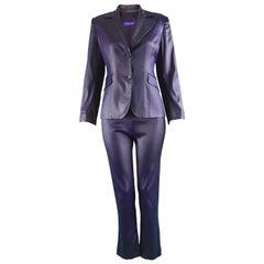 Rifat Ozbek Dark Purple Wet Look Vintage Pant Suit, 1990s