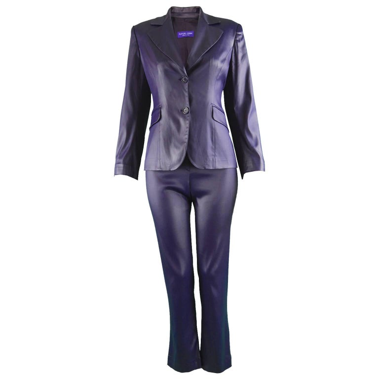 Rifat Ozbek Dark Purple Wet Look Vintage Pant Suit, 1990s
