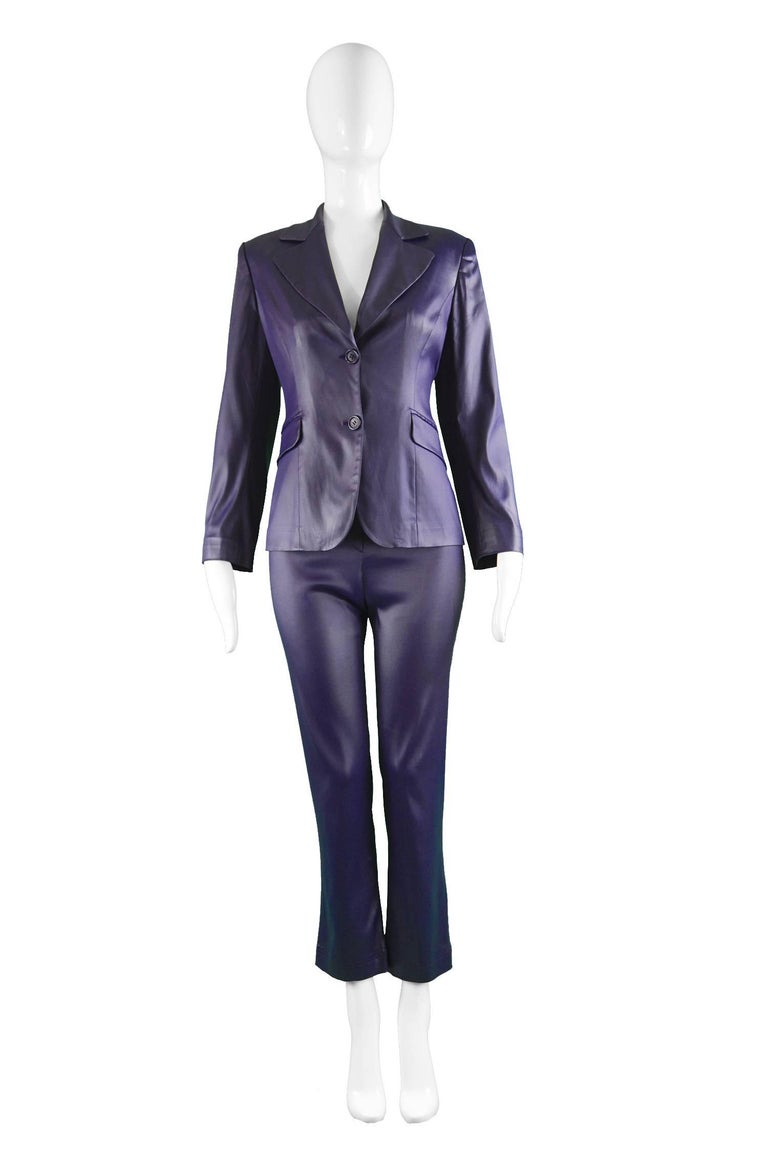 "Rifat Ozbek Dark Purple Wet Look Vintage Pant Suit, 1990s  Estimated Size: petite size UK 6-8/ US 2-4/ EU 34-36. Runs quite narrow at the hip. Please check measurements. Jacket  Bust - 34"" / 86cm (please allow a couple of inches room for"