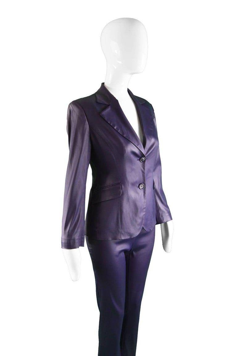 Black Rifat Ozbek Dark Purple Wet Look Vintage Pant Suit, 1990s For Sale