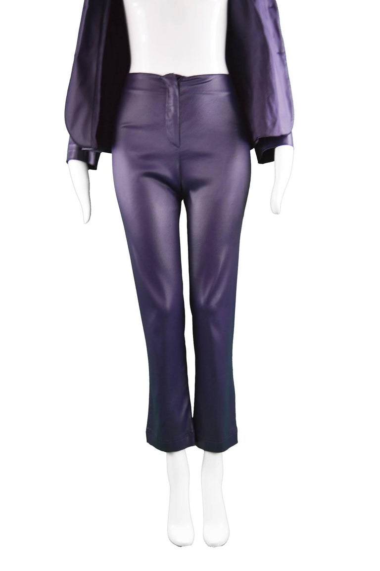 Rifat Ozbek Dark Purple Wet Look Vintage Pant Suit, 1990s For Sale 3