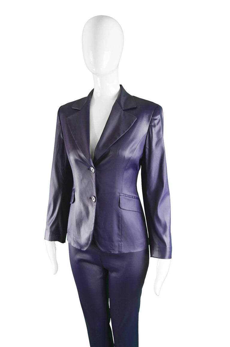 Women's Rifat Ozbek Dark Purple Wet Look Vintage Pant Suit, 1990s For Sale
