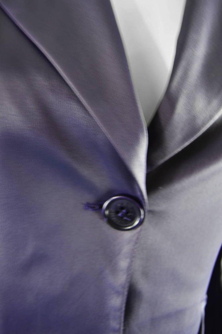 Rifat Ozbek Dark Purple Wet Look Vintage Pant Suit, 1990s 6