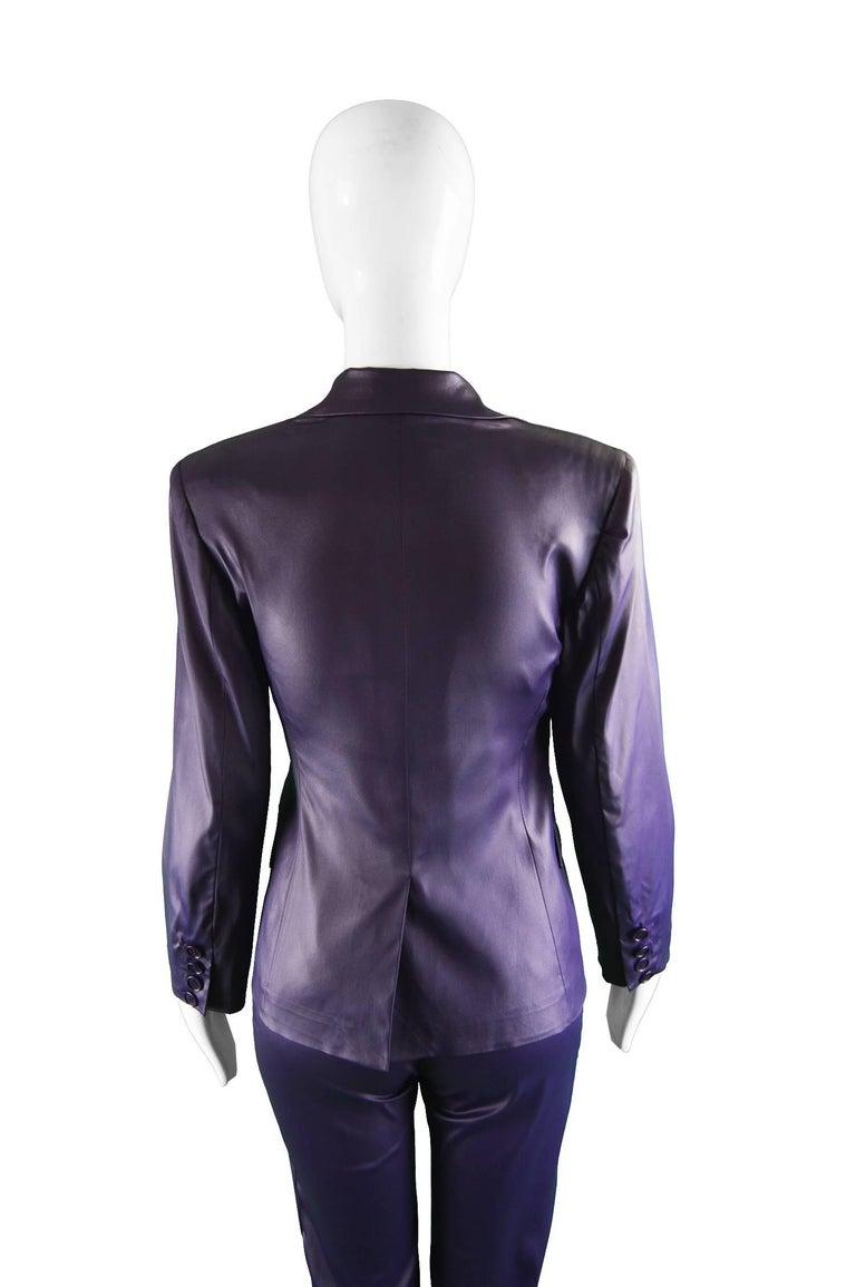 Rifat Ozbek Dark Purple Wet Look Vintage Pant Suit, 1990s 7