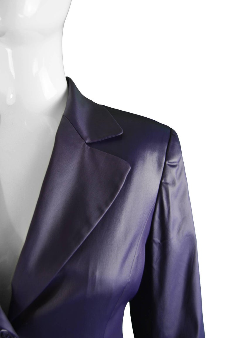 Rifat Ozbek Dark Purple Wet Look Vintage Pant Suit, 1990s In Good Condition For Sale In Doncaster, South Yorkshire