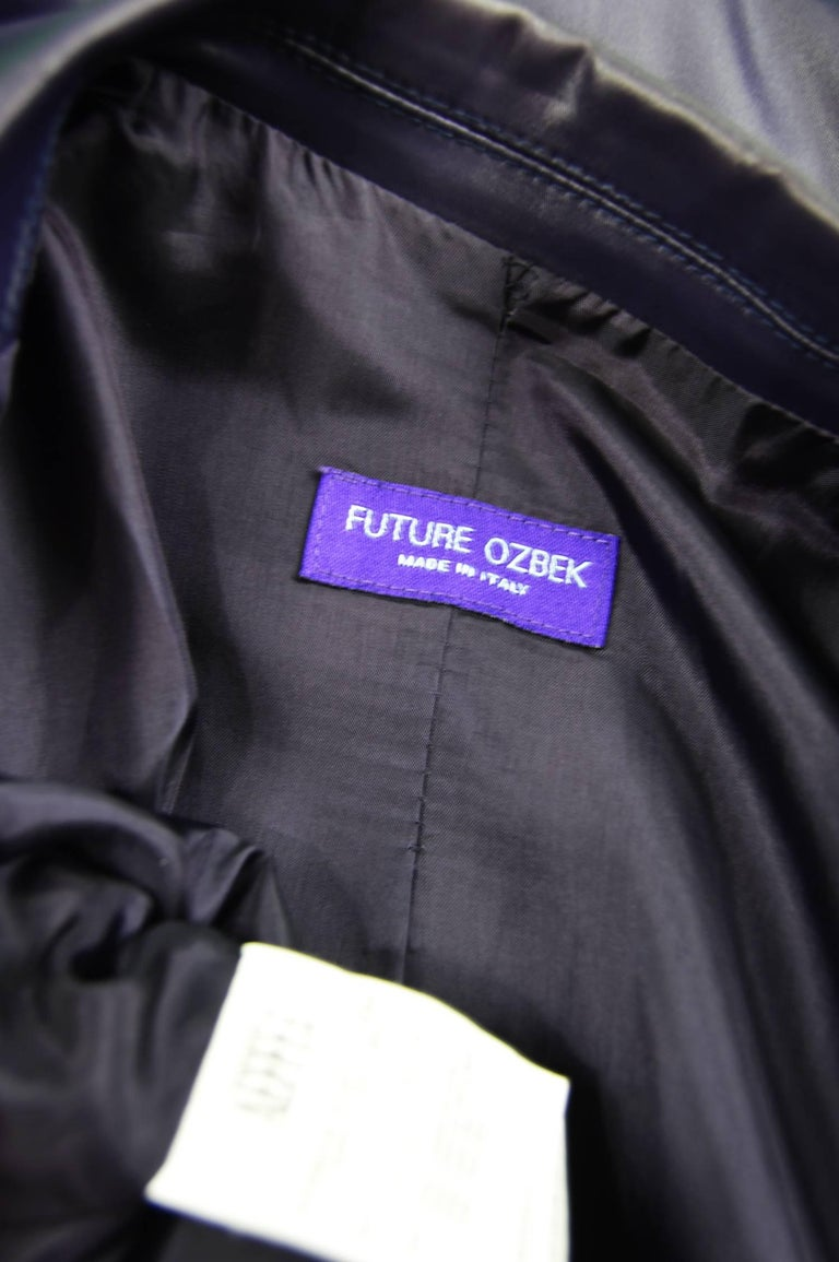 Rifat Ozbek Dark Purple Wet Look Vintage Pant Suit, 1990s 9