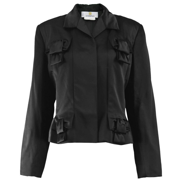Givenchy Couture by John Galliano Black Satin Bow Evening Jacket, 1996 For Sale