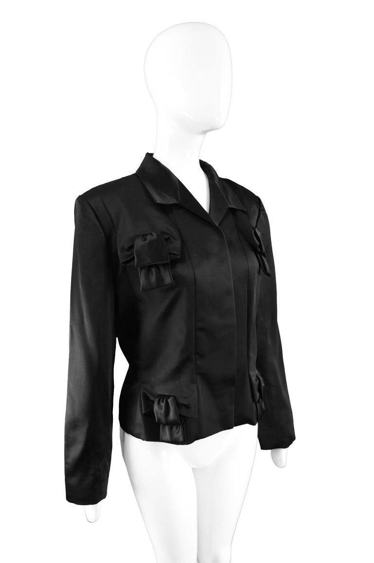 Givenchy Couture by John Galliano Black Satin Bow Evening Jacket, 1996 For Sale 1