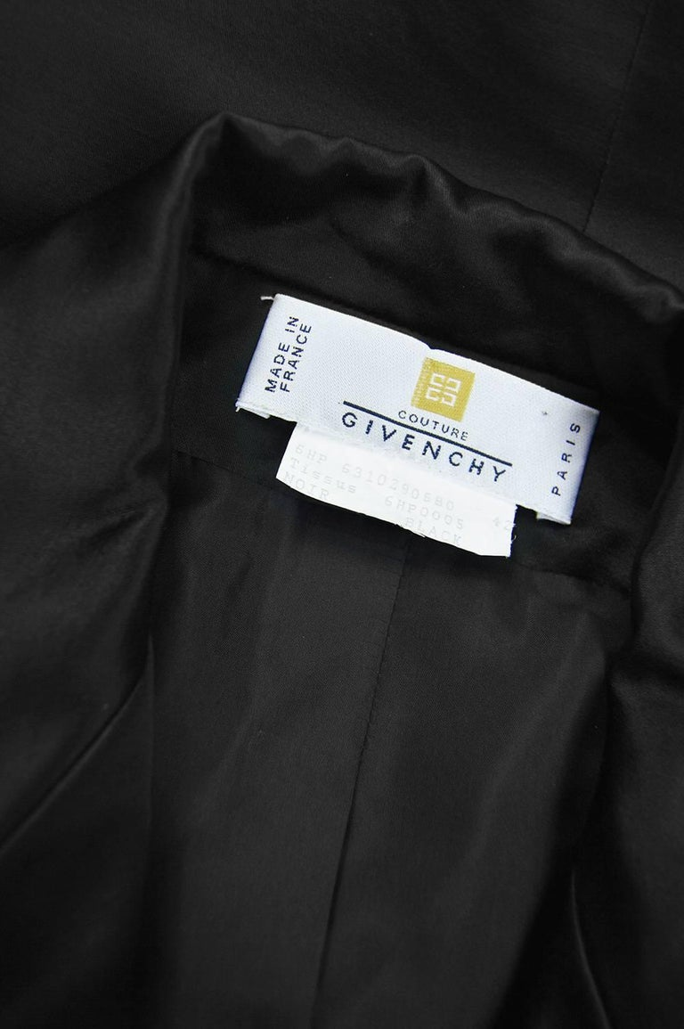 Givenchy Couture by John Galliano Black Satin Bow Evening Jacket, 1996 For Sale 3