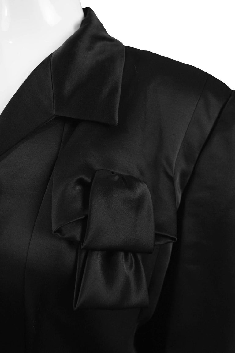 Women's Givenchy Couture by John Galliano Black Satin Bow Evening Jacket, 1996 For Sale