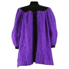 Yves Saint Laurent Purple Mohair and Black Velvet Vintage Coat, 1980s