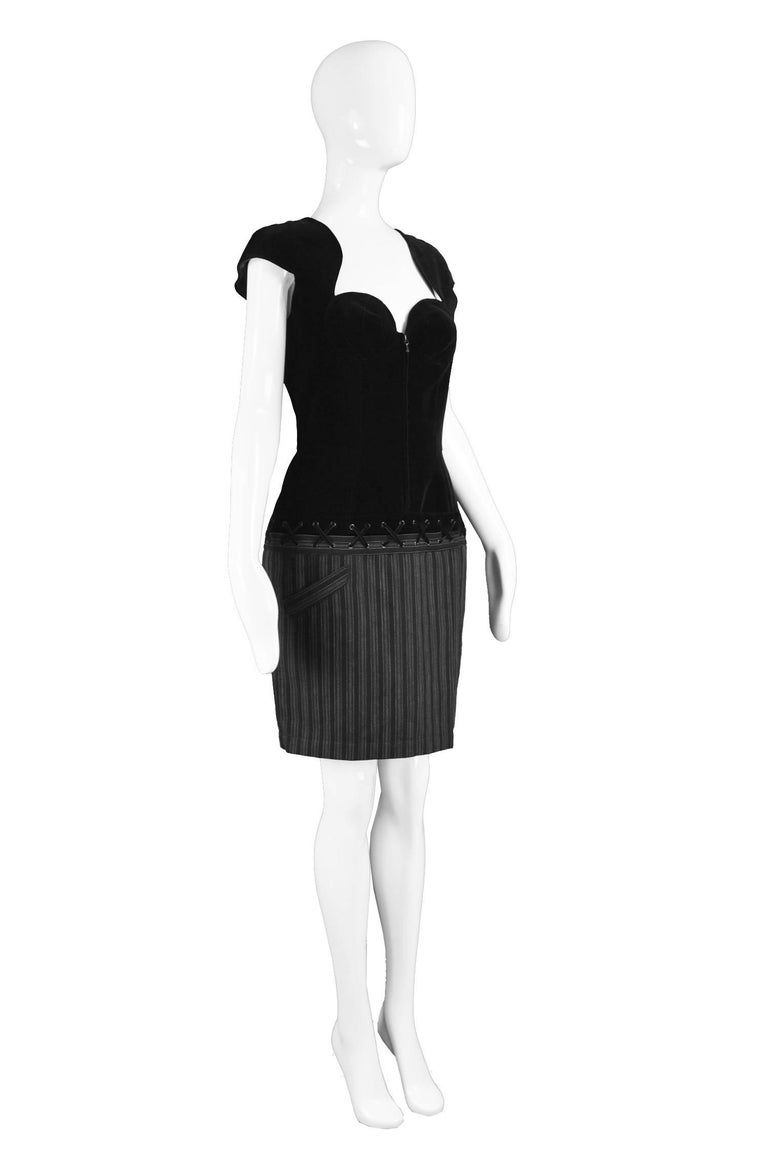 Thierry Mugler Vintage Black Velvet and Striped Wool Corset Style Dress, 1990s In Excellent Condition For Sale In Doncaster, South Yorkshire