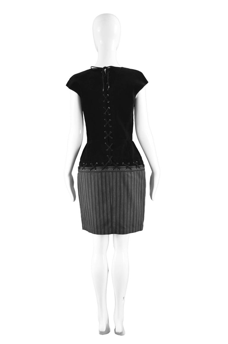 Thierry Mugler Vintage Black Velvet and Striped Wool Corset Style Dress, 1990s For Sale 1