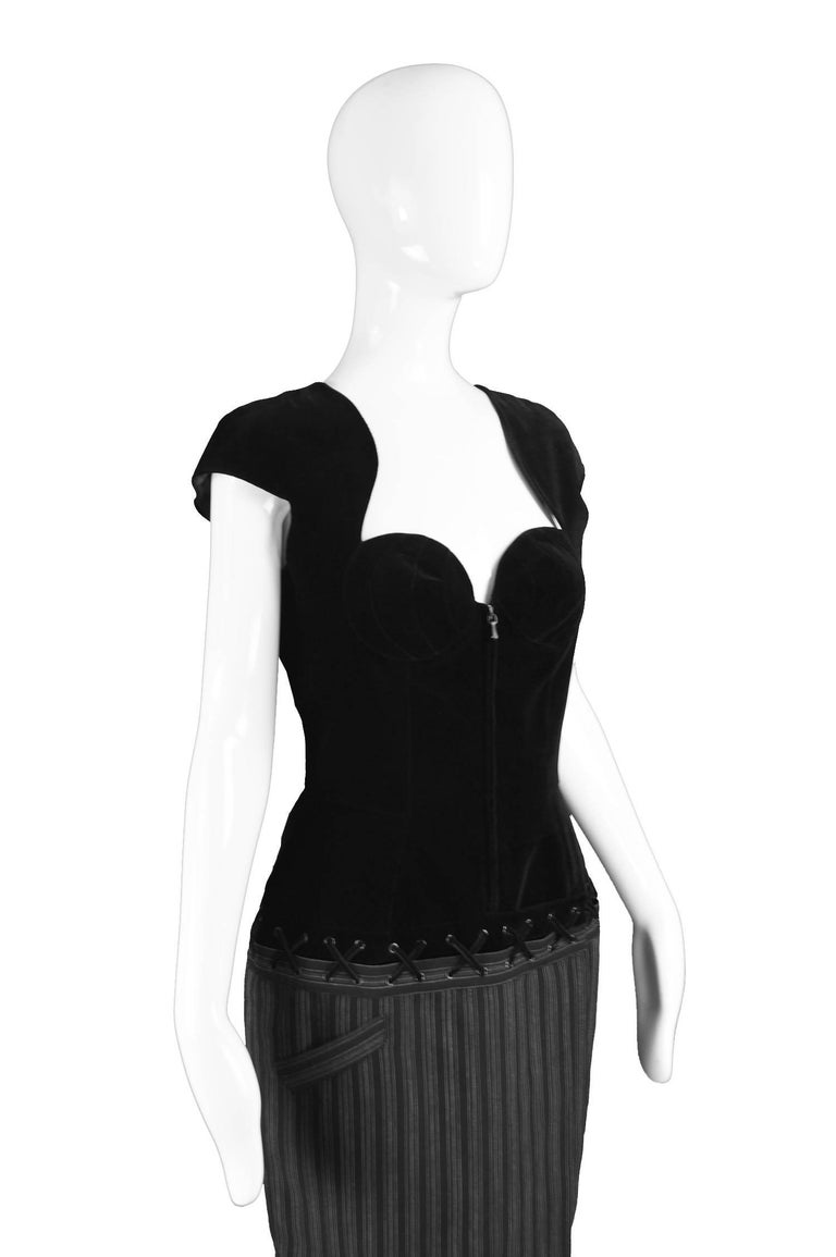 Women's Thierry Mugler Vintage Black Velvet and Striped Wool Corset Style Dress, 1990s For Sale