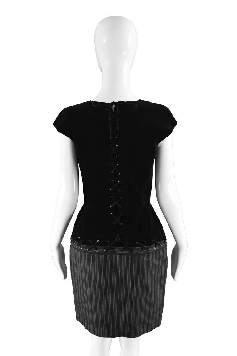 Thierry Mugler Vintage Black Velvet and Striped Wool Corset Style Dress, 1990s For Sale 2