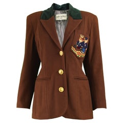 Cristina Santandrea Embroidered Bear Brown Wool and Cashmere Blazer, 1990s