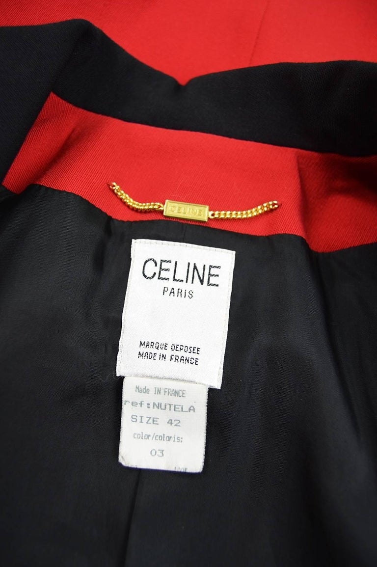 Celine Vintage Red And Black Pure Wool Riding Style Blazer