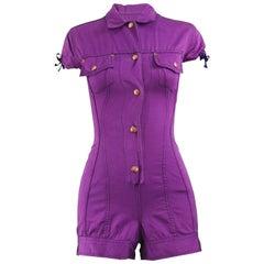 Jean Paul Gaultier Vintage Purple Cotton Twill Romper, 1990s