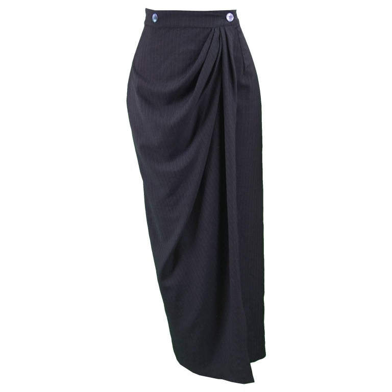 Rifat Ozbek Black Italian Wool Pinstripe Draped Maxi Pencil Skirt , 1990s For Sale