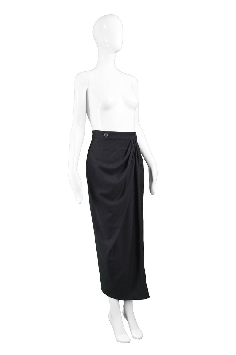 Rifat Ozbek Black Italian Wool Pinstripe Draped Maxi Pencil Skirt , 1990s For Sale 1