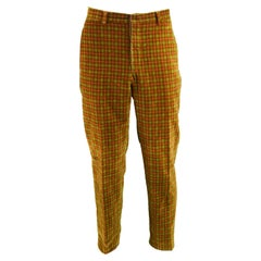 Romeo Gigli Men's Vintage Velvet Plaid Check Red & Green Pants, 1990s