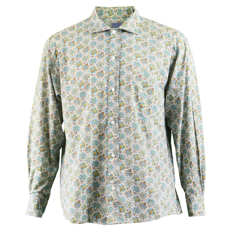 Kenzo Men's Vintage Floral Print Cotton Button Up Shirt, 1990s