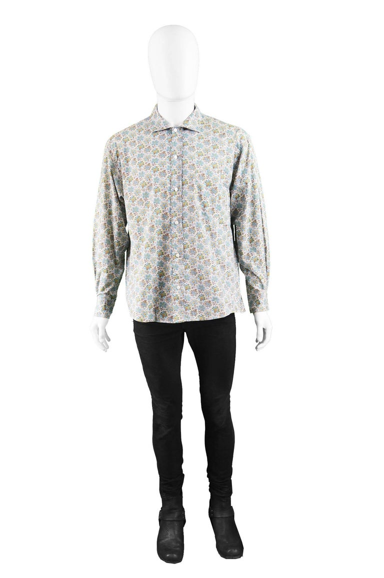 2ebfead986080 Kenzo Men's Vintage Floral Print Cotton Button Up Shirt, 1990s