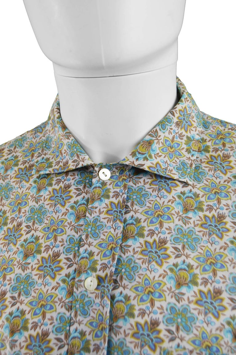 1ce95e56 Kenzo Men's Vintage Floral Print Cotton Button Up Shirt, 1990s In Excellent  Condition For Sale