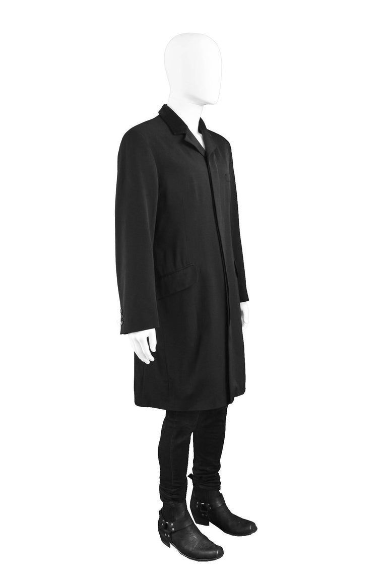 Katharine Hamnett Men's Vintage Black Wool Victorian Style Frock Coat, 1990s In Good Condition For Sale In Doncaster, South Yorkshire