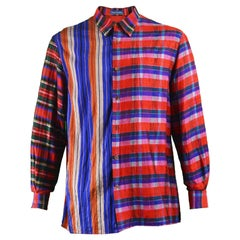 Gene Cabaleiro Eccentric Vintage Men's Silk Plaid Patchwork Shirt, 1990s