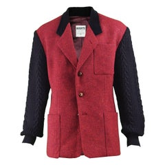 Bogy's Vintage Men's Red Wool Tweed & Black Cable Knit Blazer, 1980s