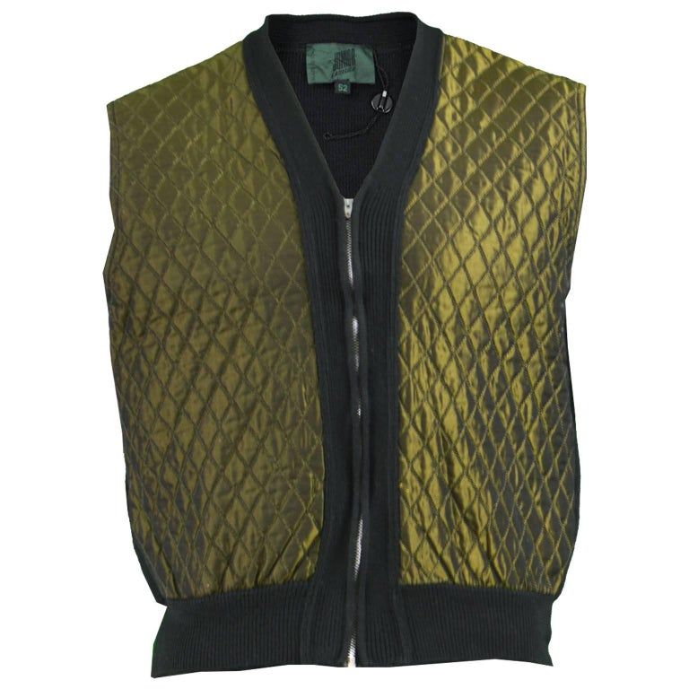 Jean Paul Gaultier Vintage Men's Gold Quilted Sleeveless Jacket, 1980s