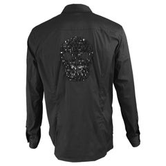 John Richmond Embellished Studded and Beaded Black Skull Shirt