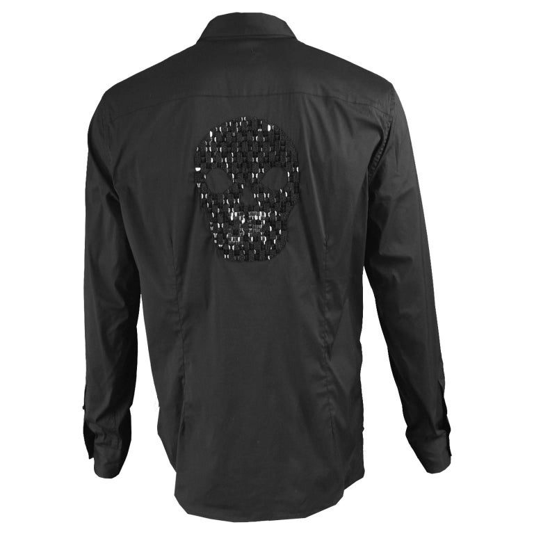 John Richmond Embellished Studded and Beaded Black Skull Shirt For Sale
