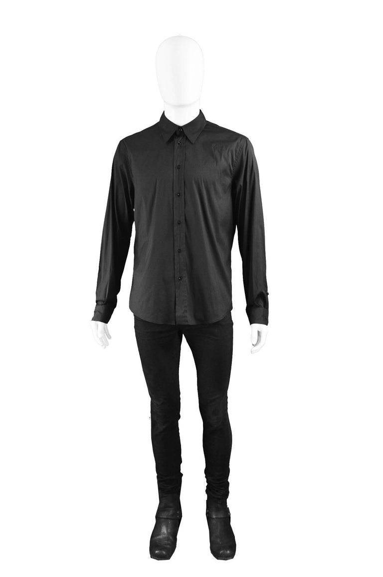 "John Richmond Men's Embellished Studded & Beaded Black Skull Shirt  Size: Marked 50 which is roughly a men's Medium to Large. Please check measurements. Chest - 42"" / 106cm Length (Shoulder to Hem) - 25"" / 63cm Shoulder to Shoulder - 19"" /"