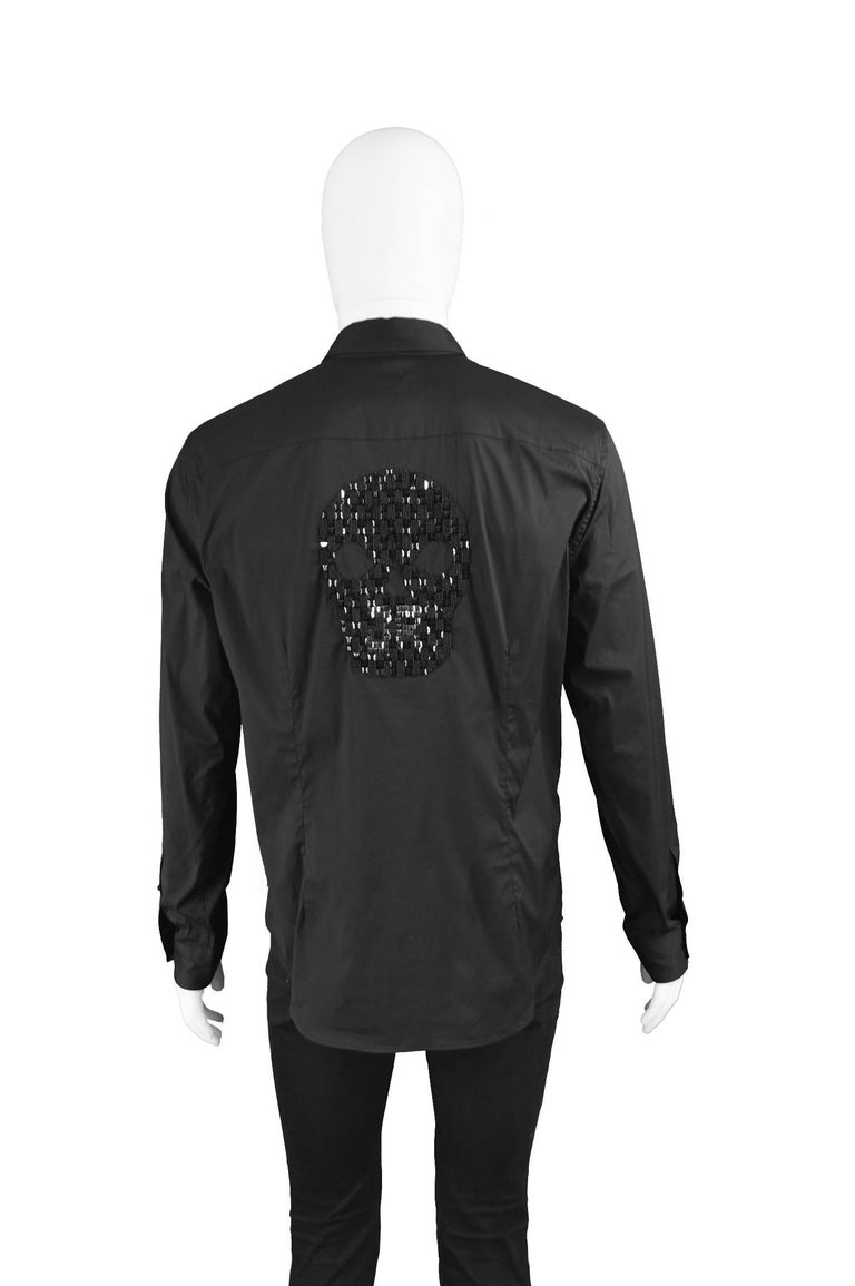 John Richmond Embellished Studded and Beaded Black Skull Shirt For Sale 2