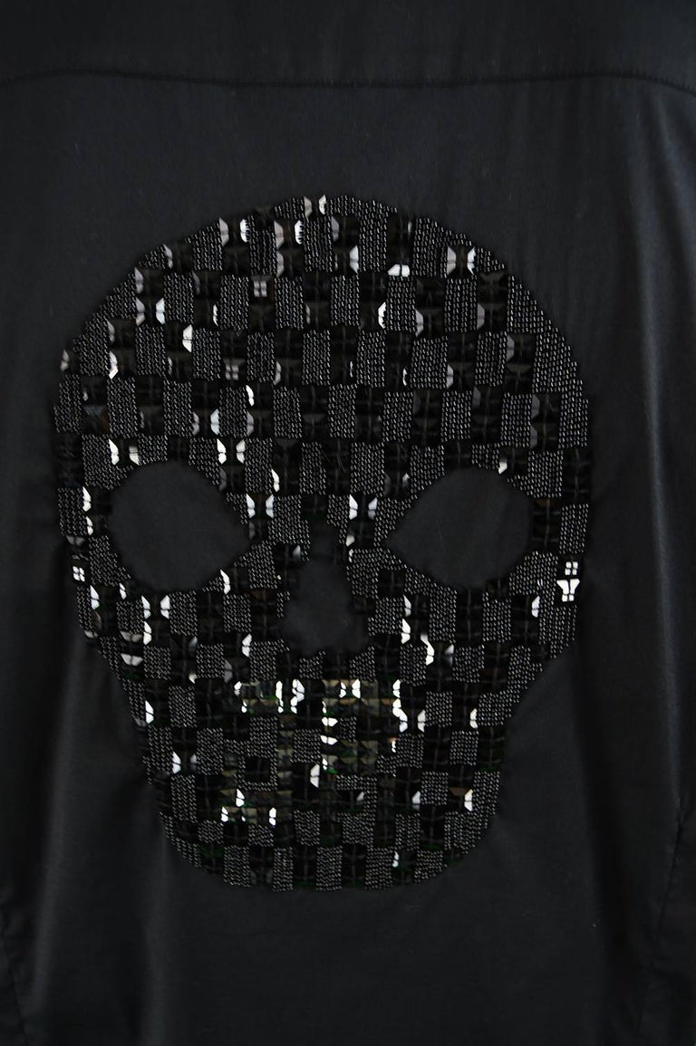 John Richmond Embellished Studded and Beaded Black Skull Shirt For Sale 3