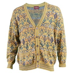 Missoni Vintage Men's Cotton & Linen Diamond Pattern Knit Cardigan, 1980s