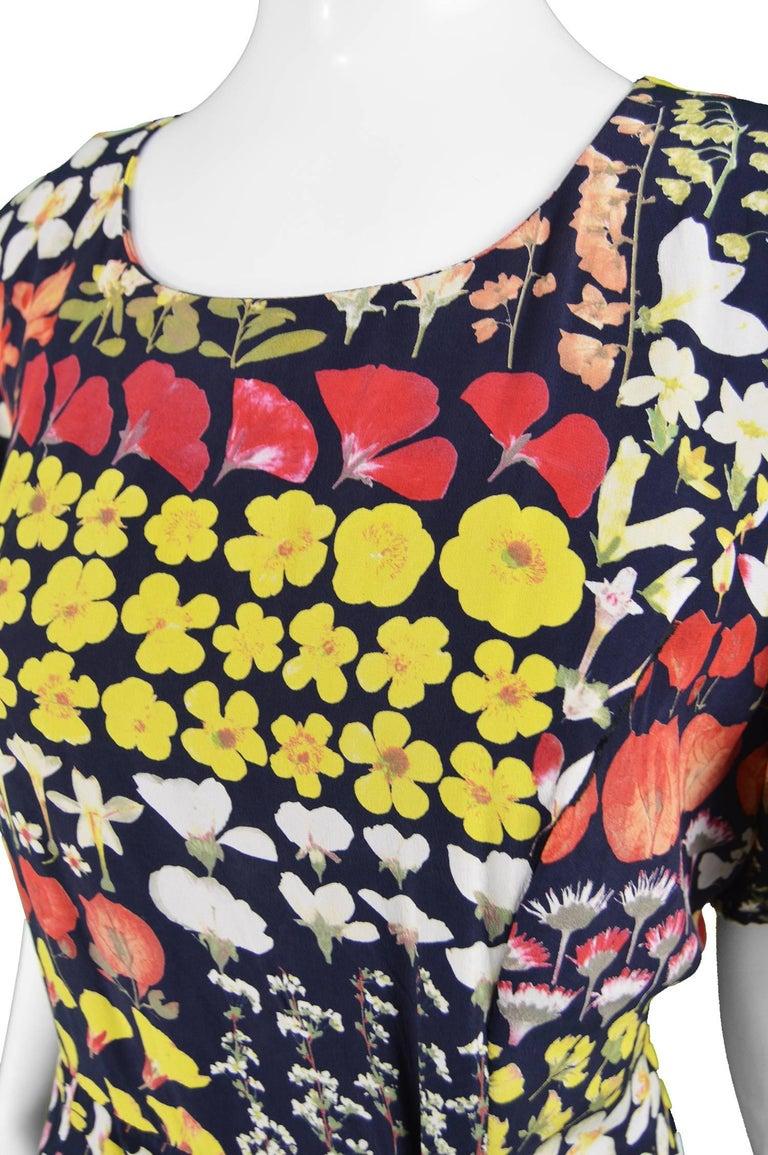 Beige Valentino Vintage Botanical Floral Print Dark Navy Blue Silk Dress, 1980s For Sale