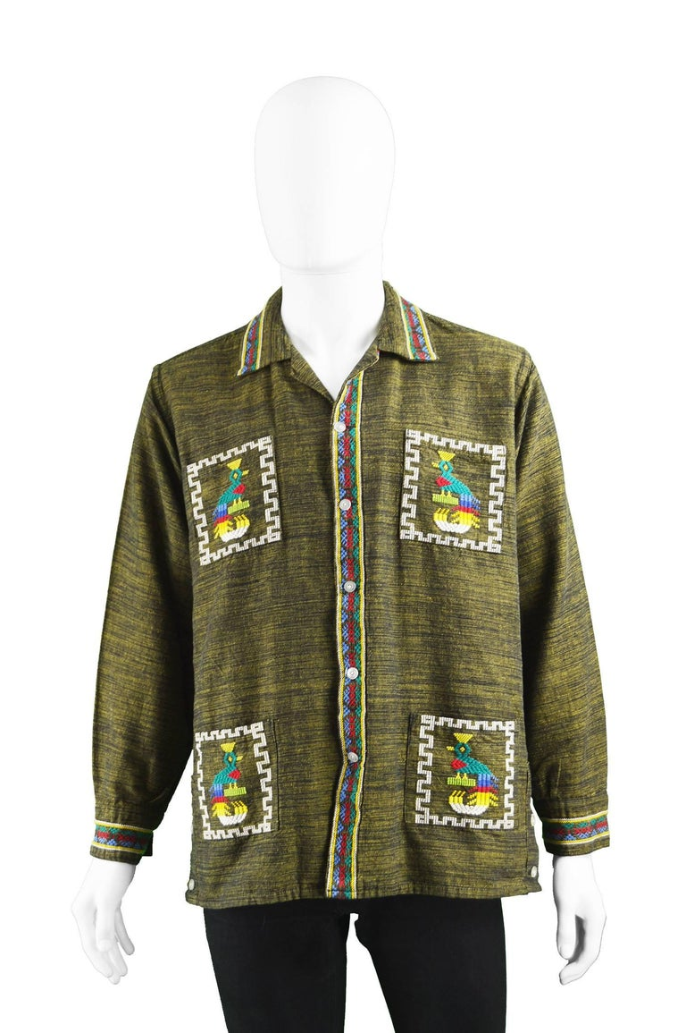 Vintage Men S 1960s Guatemalan Aztec Embroidered Handwoven