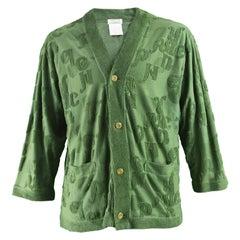 Matsuda Men's Vintage Green Alphabet Chenille Knit Cardigan, 1980s