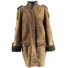 JC de Castelbajac Vintage Women's Oversized Suede Trim Sheepskin Coat, 1980s