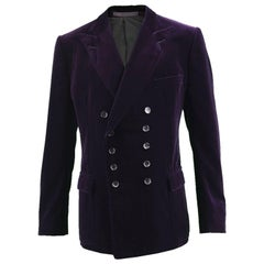 Gucci Men's Dark Purple Velvet Double Breasted Peaked Lapels Dinner Jacket