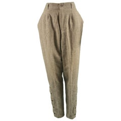 Gianni Versace Vintage Light Brown Tweed Tapered Leg Jodhpur Pants, 1980s